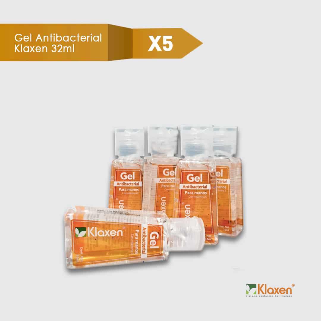 Saniklax: Gel Antibacterial 70% Alcohol – Pack 5 unid x 32 ml c/u